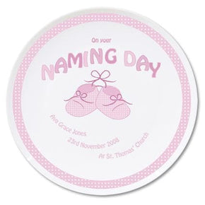 Personalised Bootee Pink Naming Day Plate