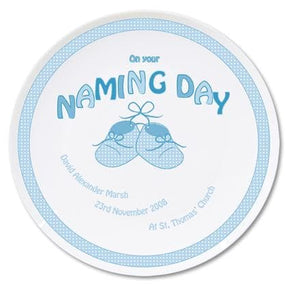 Personalised Bootee Blue Naming Day Plate