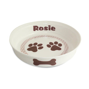 Personalised Brown Paws Dog Bowl
