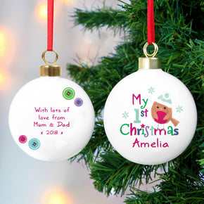 Personalised Felt Stitch Robin 'My 1st Christmas' Bauble