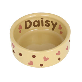 Personalised Dotty Heart Medium Brown Pet Bowl