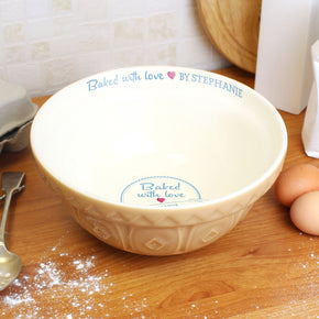 Personalised Baked With Love Mixing Bowl