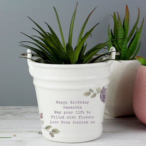 Personalised Secret Garden Porcelain Bucket - Any Message