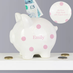 Personalised Pink Polka Dot Piggy Bank