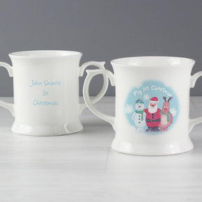 Personalised Snow Scene 1st Christmas Loving Mug