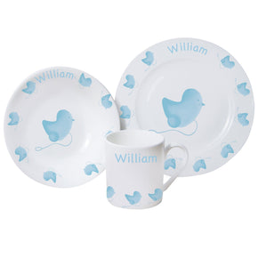 Personalised Blue or Pink Chick Breakfast Set