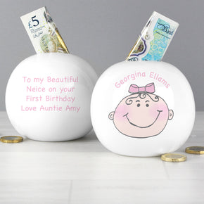 Personalised Baby Girl Money Box