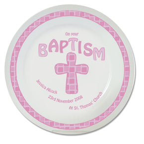 Personalised Pink Cross Baptism Plate