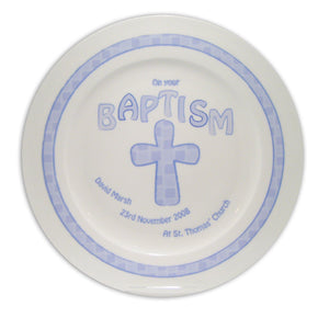 Personalised Blue Cross Baptism Plate