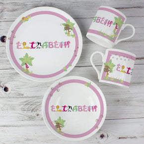 Personalised Animal Name Breakfast Set Pink or Blue