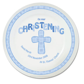 Personalised Blue Christening Plate