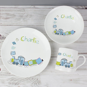 Personalised Patchwork Train Breakfast Set
