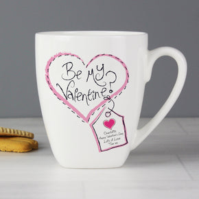 Personalised Stitch Heart Be My Valentine Latte Mug