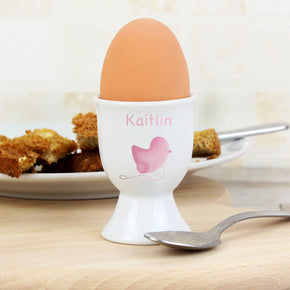 Personalised Pink or Blue Chick Egg Cup