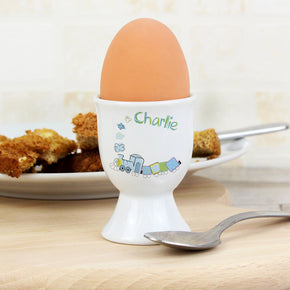 Personalised Patchwork Train Egg Cup