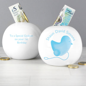 Personalised Blue Chick Money Box