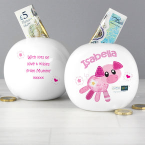 Personalised Cotton Zoo Organza the Piglet Money Box