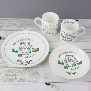 Personalised Wednesdays Child Breakfast Set