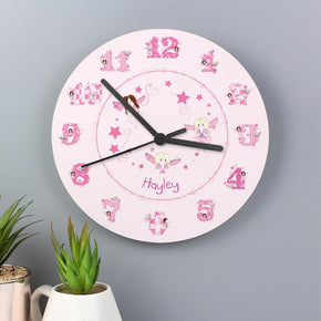 Personalised Fairy Large Wooden Clock
