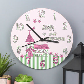 Personalised Whimsical Church Christening Large Wooden Clock