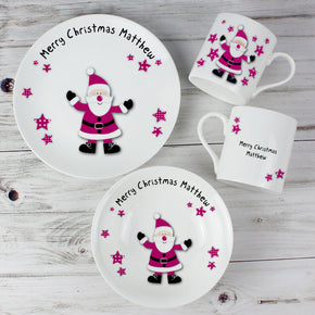 Personalised Spotty Santa Breakfast Set