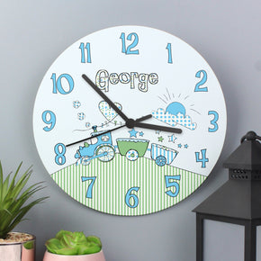 Personalised Whimsical Train Large Wooden Clock