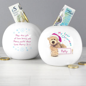 Personalised Teddy 1st Christmas Money Box