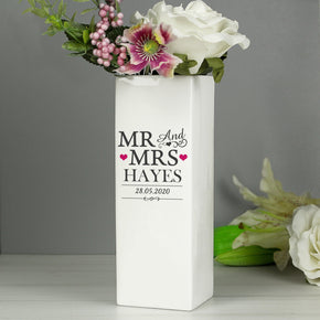 Personalised Mr & Mrs White Square Vase