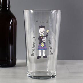 Personalised Scottish Cartoon Wedding Pint Glass