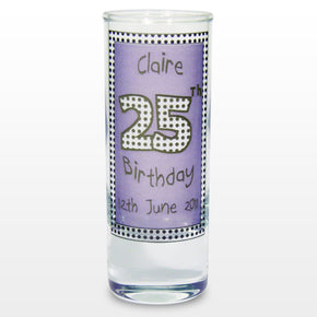 Personalised Lilac Happy Birthday Shot Glass