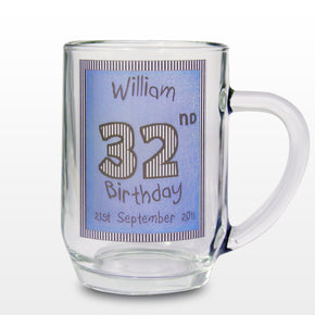 Personalised Blue Happy Birthday Tankard