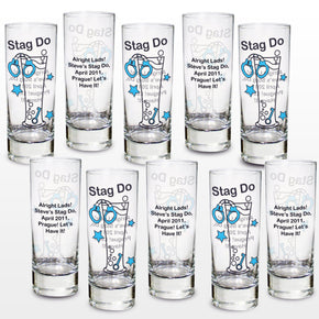 Personalised Stag Do Shot Glasses Pack of 10