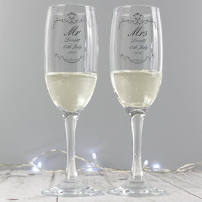 Personalised Ornate Swirl Couples Pair of Flutes with Gift Box