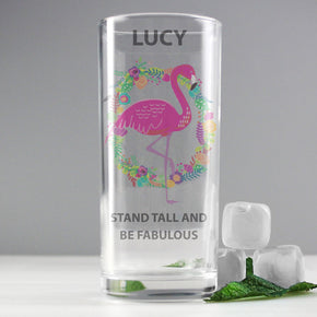 Personalised Flamingo Hi Ball Glass