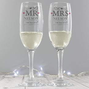 Personalised Mr & Mrs Pair of Flutes with Gift Box