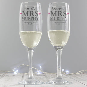 Personalised Mrs & Mrs Pair of Flutes with Gift Box