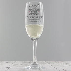 Personalised Mr & Mrs Mother of the Groom Glass Flute