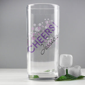 Personalised Cheers Hi Ball Glass