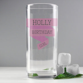 Personalised Pink Banner Hi Ball Glass
