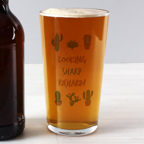 Personalised Cactus Pint Glass