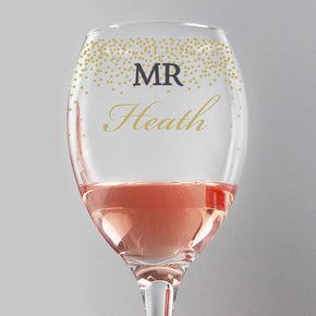 Personalised Gold Confetti Wine Glass