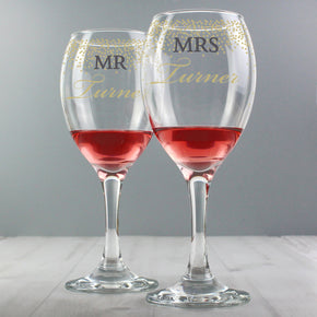 Personalised Mr and Mrs Gold Confetti Pair of Wine Glasses