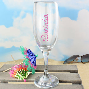 Personalised Pink Name Island Flute Glass