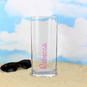 Personalised Pink Name Hi Ball Glass