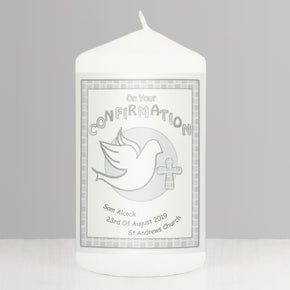 Personalised Confirmation Candle Grey