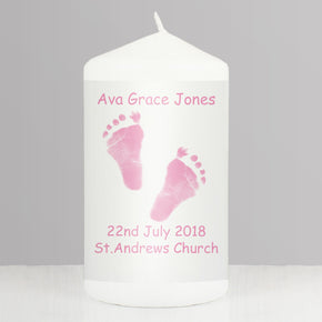 Personalised Pink Footprints Candle
