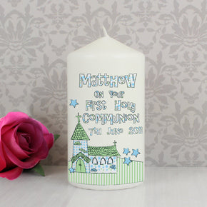 Personalised Whimsical Church Blue 1st Holy Communion Candle