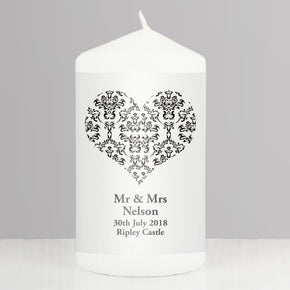 Personalised Black Damask Heart Candle