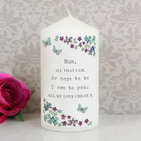 Personalised Forget me not Candle