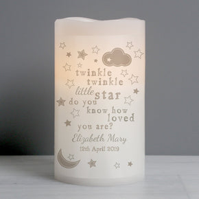 Personalised Twinkle Twinkle Nightlight LED Candle
